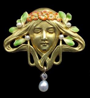 FRIEDRICH ZERRENNER Art Nouveau Brooch – antique jewellery | gold & enamel brooches