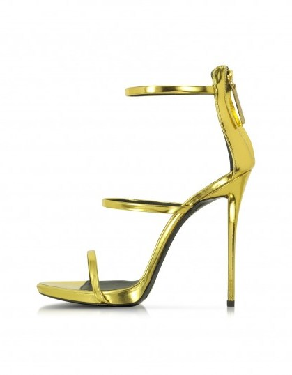 Giuseppe Zanotti gold metallic leather sandal – as worn by Gigi Hadid at the MTV Video Music Awards in Los Angeles, August 2015. Celebrity fashion | designer high heels | luxe strappy sandals | star style | what celebrities wear - flipped