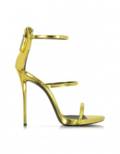 Giuseppe Zanotti gold metallic leather sandal – as worn by Gigi Hadid at the MTV Video Music Awards in Los Angeles, August 2015. Celebrity fashion | designer high heels | luxe strappy sandals | star style | what celebrities wear