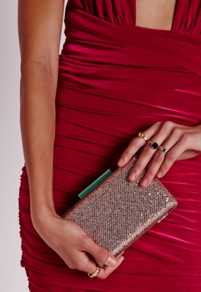 Luxe Style Missguided Pink Glitter Clutch Luxury Looking Eveni