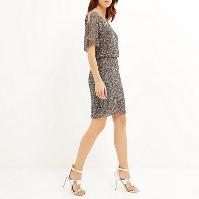 River Island grey sequin embellished occasion dress. Party dresses / evening fashion / going out / special occasions / sequins - flipped