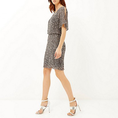 River Island grey sequin embellished occasion dress. Party dresses / evening fashion / going out / special occasions / sequins