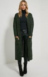 Pretty Little Thing Hadley khaki longline knitted cardigan. Long cardigans | womens knitwear | autumn / winter fashion