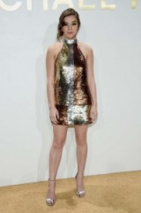 Hailee Steinfeld glittered in a sequin covered, halterneck mini dress & metallic barely there heels, at the New Gold Collection Fragrance Launch hosted by Michael Kors, NYC, 13 September 2015. Celebrity dresses / event fashion / star style / glamorous celebrities