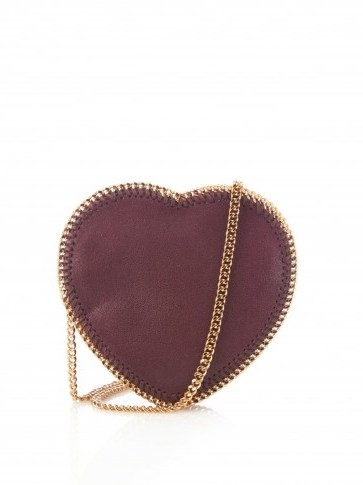 STELLA MCCARTNEY Heart Falabella faux-suede cross-body bag. Designer bags | luxe style accessories | luxury handbags | hearts | shoulder bags - flipped