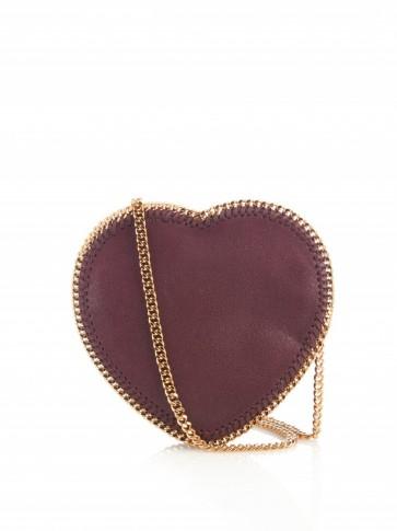 STELLA MCCARTNEY Heart Falabella faux-suede cross-body bag. Designer bags | luxe style accessories | luxury handbags | hearts | shoulder bags