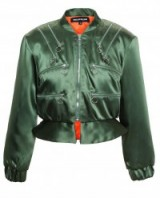 HOUSE OF HOLLAND Zipped Satin Bomber Jacket in Forest Green. Designer fashion | womens casual outerwear | quilted jackets