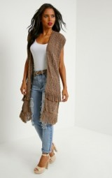 Pretty Little Thing Isa mocha fringe knitted cardigan. longline cardigans | womens knitwear | long length | autumn / winter | fringed clothing