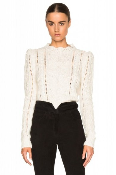 ISABEL MARANT Gracie Irish smooth knit in ecru. Womens knitwear | designer jumpers | pretty sweaters | knitted fashion | autumn – winter clothing - flipped
