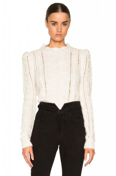 ISABEL MARANT Gracie Irish smooth knit in ecru. Womens knitwear | designer jumpers | pretty sweaters | knitted fashion | autumn – winter clothing