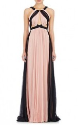 J. MENDEL Gathered Chiffon Gown in sugar pink & black – as worn by Joanne Froggatt at the Emmy Awards in LA, 20 September 2015. Celebrity fashion | star style | red carpet gowns | long designer dresses | what celebrities wear | events