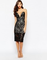 Jarlo Astrid black lace bandeau dress from asos.com. plunging necklines – party dresses – occasion wear – evening glamour – going out fashion