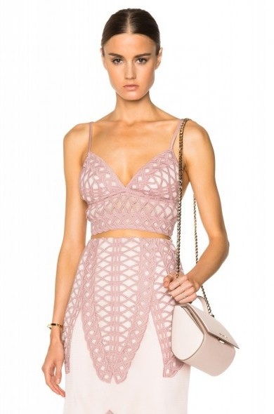 JONATHAN SIMKHAI Tread Lace Bralette Top in pink – as worn by Bella Thorne at S/S 2016 New York Fashion Week, September 2015. Celebrity fashion | star style | what celebrities wear | designer bralets | co-ords | crop tops | top and skirt sets - flipped
