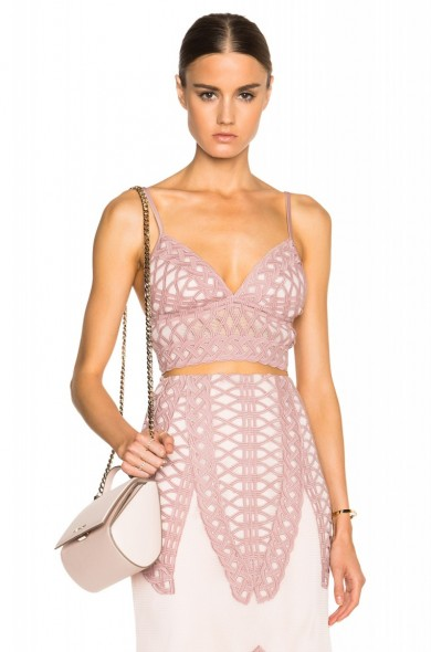 JONATHAN SIMKHAI Tread Lace Bralette Top in pink – as worn by Bella Thorne at S/S 2016 New York Fashion Week, September 2015. Celebrity fashion | star style | what celebrities wear | designer bralets | co-ords | crop tops | top and skirt sets