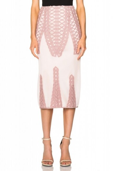 JONATHAN SIMKHAI Tread Lace Insert Angel Skirt in pink – as worn by Bella Thorne at New York Fashion Week. Celebrity fashion | star style | what celebrities wear | designer pencil skirts | co-ords | sets - flipped