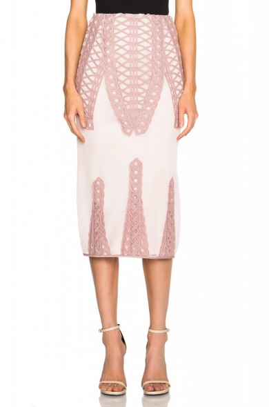 JONATHAN SIMKHAI Tread Lace Insert Angel Skirt in pink – as worn by Bella Thorne at New York Fashion Week. Celebrity fashion | star style | what celebrities wear | designer pencil skirts | co-ords | sets