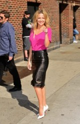 Kate Hudson in a hot pink top, black leather pencilskirt and white high heel pumps. celebrity style ~ outfits