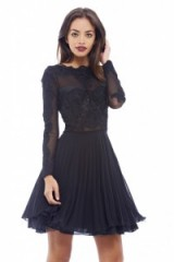 AX Paris – lace detail pleated skater dress in black. Fit & flare ~ party dresses ~ eveningwear ~ occasion fashion ~ going out