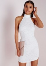 White lace high neck curve hem bodycon from Missguided ~ affordable luxe ~ party dresses ~ evening dress ~ going out dresses