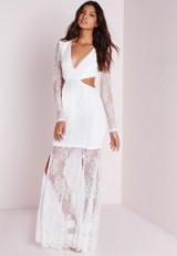 White lace long sleeve cut out maxi dress from Missguided ~ Luxury look ~ occasion dresses ~ going out fashion ~ evening wear ~ luxe style clothing