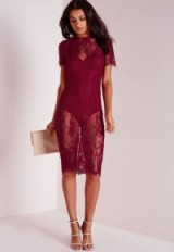Missguided burgundy lace short sleeve bodycon dress. Party dresses ~ going out ~ evening fashion ~ sheer style