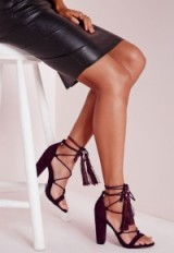 Missguided lace up tassel block heeled sandals in berry. Strappy shoes / high heels / lace up ties / ankle tie