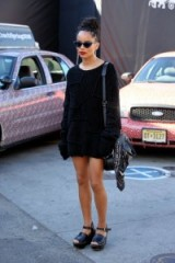 Zoe Kravitz arrives at Coach S/S 2016 at New York Fashion Week. Celebrity style | outfits | sweater dresses | oversized jumpers