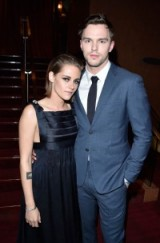 Kristen Stewart in Dior & Nicholas Hoult wearing a blue suit, attend the Equals Premiere at 2015 TIFF. Celebrity fashion | actors in suits | red carpet style | film premieres | designer gowns