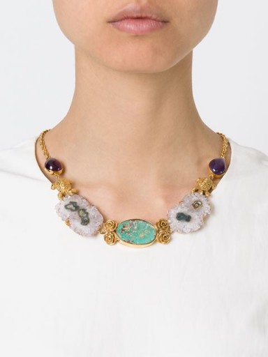 LEIVANKASH 22kt gold plated amethyst and turquoise necklace. Luxe accessories | statement necklaces | designer fashion jewellery  #