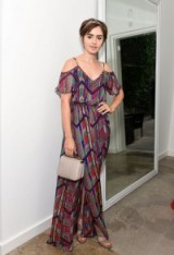 Lily Collins looked lovely wearing a multicoloured Cold Shoulder Maxi dress from Ella Moss, at the A List Party in Beverly Hills, 1 September 2015. Mazatlan dress from ellamoss.com. Celebrity fashion | star style | long dresses | events