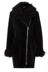 Warehouse luxe shearling biker coat black. Autumn-winter coats / womens outerwear / warm fashion