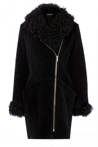 Warehouse luxe shearling biker coat black. Autumn-winter coats / womens outerwear / warm fashion