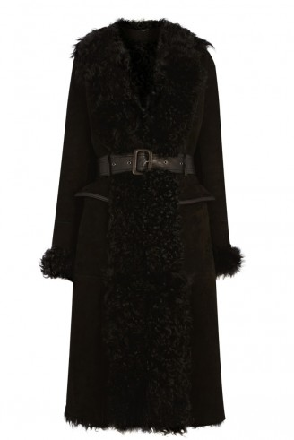 Luxe style…Warehouse shearling belted coat black. Autumn-winter fashion / suede coats / warm fashion
