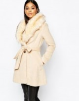 Luxe style camel coat with faux fur collar from Michelle Keegan Loves Lipsy. Luxury looks / winter coats