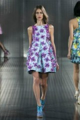 Mary Katrantzou Spring 2014 floral embellished dress at LFW. Designer fashion / fit & flare dresses / runway clothing / embellishments