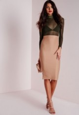 Missguided long sleeve mesh top midi dress in camel/Khaki ~ party dresses ~ going out ~ evening glamour ~ sheer fashion