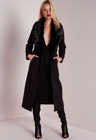 Missguided Back Longline Wool Coat With Faux Fur Collar
