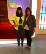 Entrepreneur Hilary Devey on the left wearing a khaki jumpsuit by Wal G London and Coleen Nolan wearing a jacket by Wallis Fashion with Next.co.uk shoes