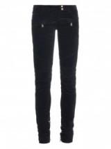 BALMAIN Low-rise velvet biker trousers. Designer fashion | black skinny pants | womens luxury clothing | casual style