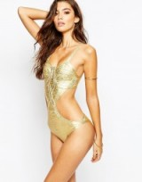 Luxe gold foil swimsuit. Luxe looks / luxury style swimsits