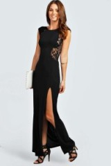 boohoo Maddie lace back maxi dress in black from boohoo.com. Party dresses / evening wear / going out fashion