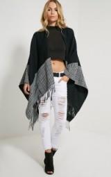 Pretty Little Thing Mayra tartan monochrome knitted shawl. Womens knitwear | autumn outerwear | shawls | capes | winter fashion