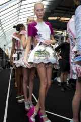 Models backstage for Mary Katrantzou at LFW S/S 2011. Designer fashion / printed dresses / catwalk clothing / embellishments