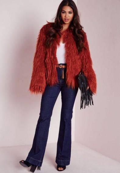 Missguided Mongolian Faux Fur Coat in Rust. Fluffy coats