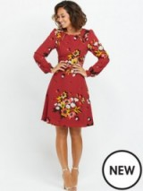 Myleene Klass Floral Long Sleeve Dress in pink print – as worn by Myleene Klass out in London, 25 September 2015. Celebrity fashion | flower print dresses | what celebrities wear