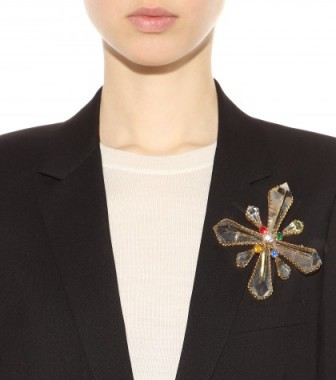 Large crystal-embellished brooch by Ugo Correani for Gianni Versace – designer fashion jewellery – brooches