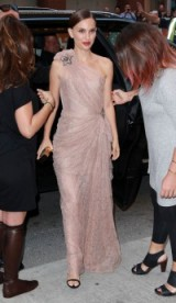 Natalie Portman arrives at the TIFF premiere of A Tale of Love and Darkness, draped in a blush lace Lanvin one shoulder gown. Celebrity gowns | star style | red carpet fashion