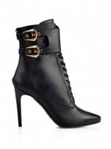 BALMAIN Nina double-buckle leather ankle boots with lace up front. Designer stiletto boots | luxury footwear | pointed toe