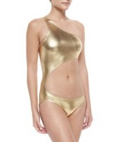 Norma Kamali Shane Metallic One-Shoulder Swimsuit, Gold Foil – as worn by Kylie Jenner on Instagram, September 2015. Designer swimsuits | star style | celebrity fashion | what celebrities wear | poolside swimwear