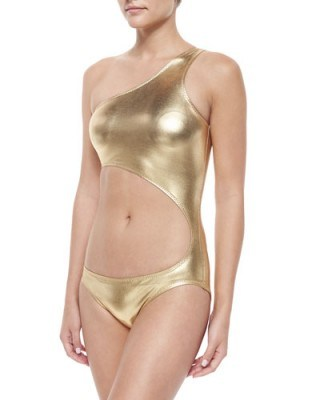 Norma Kamali Shane Metallic One-Shoulder Swimsuit, Gold Foil – as worn by Kylie Jenner on Instagram, September 2015. Designer swimsuits | star style | celebrity fashion | what celebrities wear | poolside swimwear - flipped